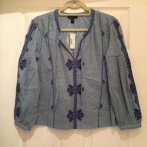 NWT J. Crew bohemian blue blouse